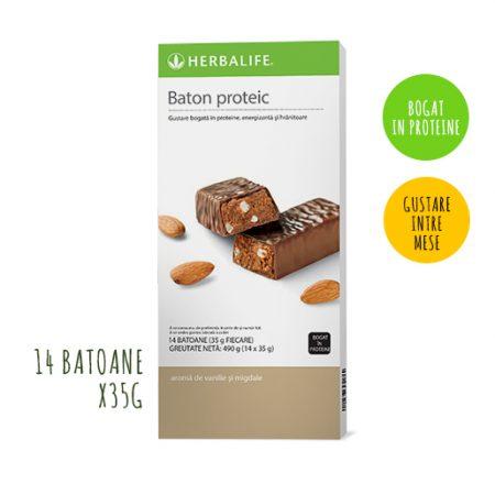 Batoane proteice Herbalife Vanilie și migdale 14 batoane per cutie