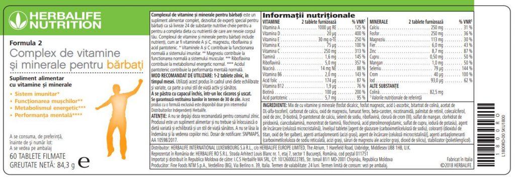 Herbalife Formula 2 Complex de Vitamine și Minerale pentru Bărbați 60 de tablete