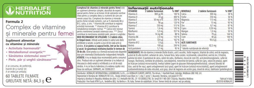 Herbalife Formula 2 Complex de Vitamine și Minerale pentru Femei 60 de tablete