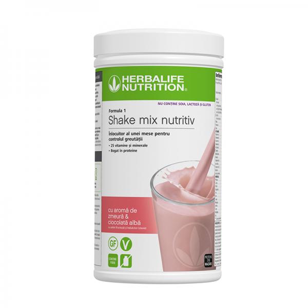 Herbalife Shake Formula 1 Fără alergeni cu aromă de zmeură și ciocolată albă 500g